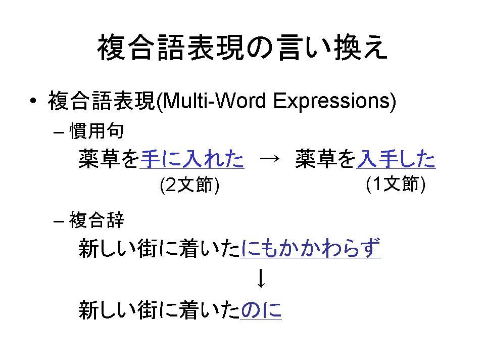 複合語表現の言い換え